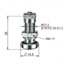 Valve for ALU wheels Ø 8,3 x 25 mm