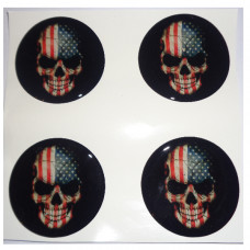 USA FLAG SKULL 3D wheel cap stickers