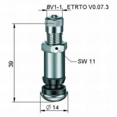 Valve for ALU wheels Ø 8,3 x 38,5 mm